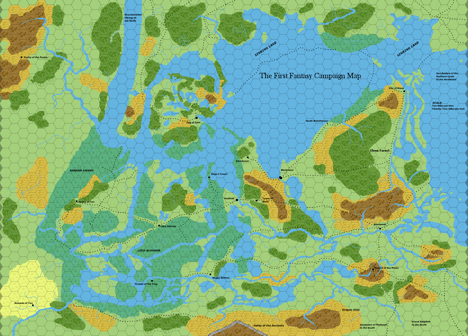 a map of replica of the 1977 ffc blackmoor hex map